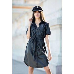 Roxán - Fekete bőrhatású ruha kép