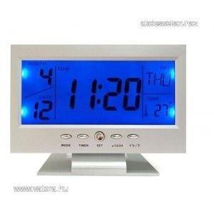 Hangvezérléses Digitális Led ébresztő Óra naptár, hőmérséklet, visszaszámláló - 8082 kép