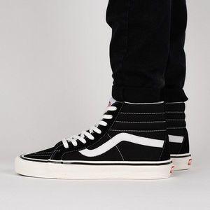 Vans, Old Skool flatform plimsolls cipő nyersbőr anyagbetétekkel, Fekete, 5.5