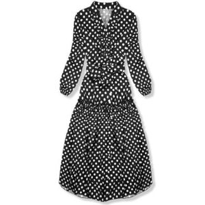 Butikmoda Fekete és fehér színű pöttyös midi ruha kép