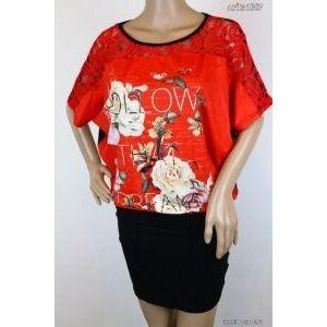 Csipkebetétes virágos ruha 1-es új!-címkés kép