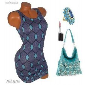 Szupercsinos kék, mintás nyári női ruha M ÚJ kép