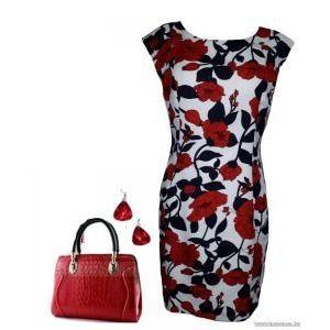 Új, Címkés virágos , elegáns karcsúsító ruha, 40-es , 1Ft kép