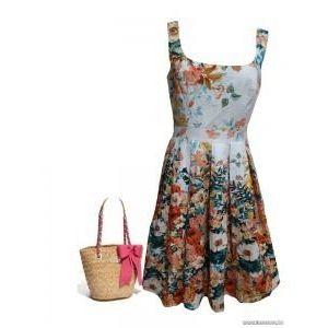 Csodaszép, romantikus virágos nyári ruha, derékban rakott, 42-es , 1Ft kép