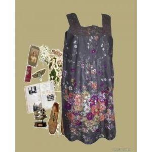 Isolde 44-es , virágos, nyaknál csipkés lenge ruha, 1Ft kép