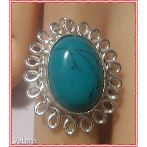 Mese szép ezüst vésett kézzel készitett indiai cakkos 18, 7 mm türkiz gyűrű kép