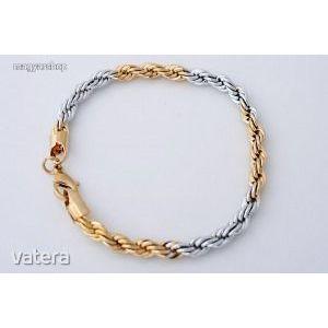 Luxus 14 K tömör sárga és fehér arany GF kétszínű férfi/női kígyó karkötő lánc kép