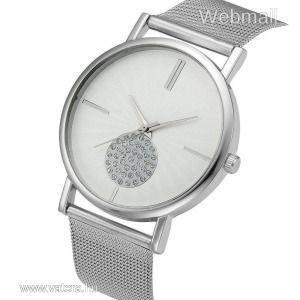 Elegáns, modern női óra kövekkel, fehér számlappal, nemesacél szíj és óratok kép