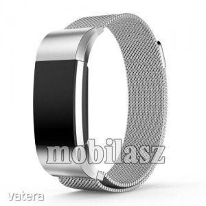 Okosóra szíj - rozsdamentes acél, mágneses - EZÜST - S méret, 210mm hosszú - Fitbit Charge 2 kép