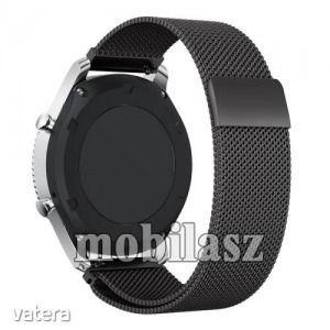 Fém okosóra szíj - FEKETE - fém háló kialakítás, mágneses - SAMSUNG Gear S3 Classic / SAMSUNG Gea... kép