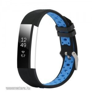 Fitbit Alta / Alta HR cserélhető szilikon sport szíj - nike hermes - fekete - kék lyukacsos kép