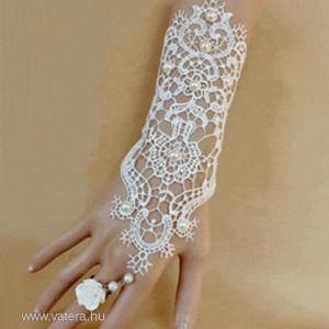1 darab Goth Horgolt, fehér csipke ujjatlan csukló kesztyű + gyűrű szett () kép