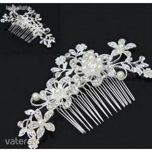 Menyasszonyi kristályköves gyöngyös fejdísz hajfésű 6€ kép