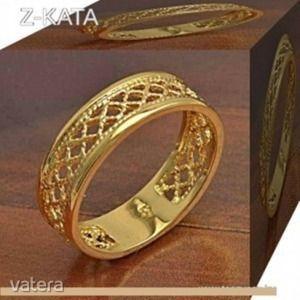Csoda szép arany filled eljegyzési csipkézett karika gyűrű 17, 5 mm es AKCIÓ kép