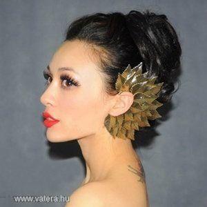 Legújabb divat arany óriás fül és hajékszer kép
