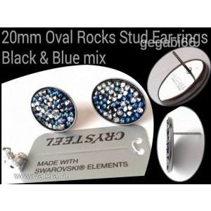 Swarovski Crysteel fülbevaló - black-blue mix kép