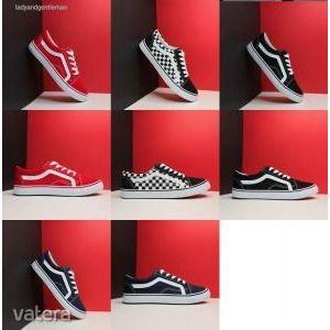 Női- férfi tornacipő, VANS/ 36-45 méret / ÚJ! -mérettáblázat/ piros/ kockás / fekete- SAJÁT KÉPEK kép