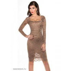 Csipke alkalmi ruha elegáns női ruha esküvőre barna XS kép