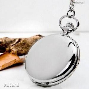 Ezüst színű klasszikus nemesacél zsebóra lánccal kép