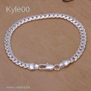 1 FT 925 Ezüst Csavart lánc mintás Karkötő Karlánc női férfi uniszex kép