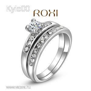1 FT 18K FehérArany Gf Dupla köves Karika Gyűrű Roxi női kép
