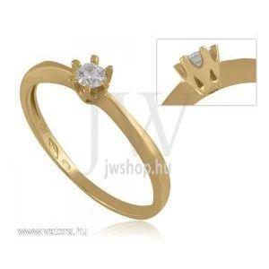 Sárga arany, köves eljegyzési gyűrű - 7 kép