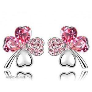 Swarovski kristályos lóhere alakú Pink szinű fülbevaló kép