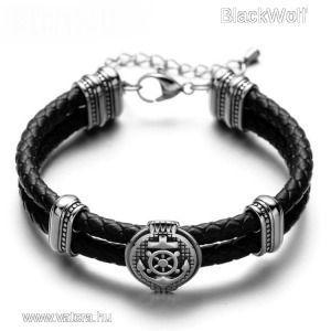 Black Wolf - Fekete Fonott Bőr Tengerész Férfi Karkötő - Acél Dísz kép