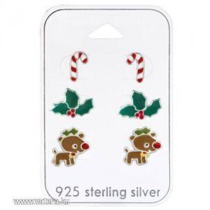 Karácsonyi szett - candy cane, fagyöngy, rudolf - Ezüst fülbevaló kép
