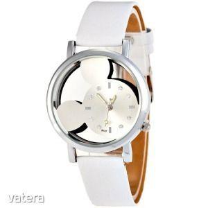 Mickey Mouse női karóra átlátszó óralappal - Fehér kép
