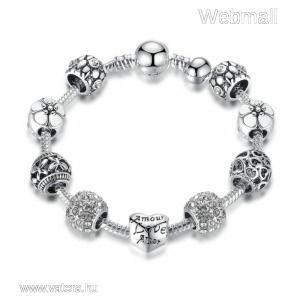 BAMOER ezüstözött Pandora stílusú Charm karkötő, szív és virág motívumokkal, színtelen, 18 cm kép