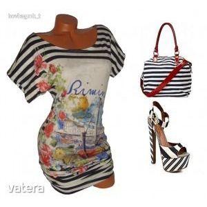 Csíkos, mintás nyári női ruha M ÚJ kép
