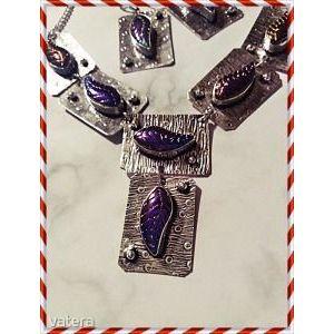 Csodás ezüst kézzel készített india szinváltós titánium druzy kvarc nyakék+ fülbevaló kép