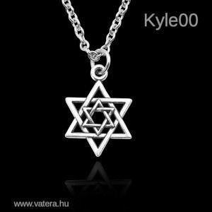 1 Ft Ezüst szín Dávid Csillag zsidó 6 ágú nyaklánc Medál kép