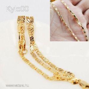 1Ft 18K Arany GF Kubai lánc mintás Uniszex nyaklánc 55cm női férfi kép