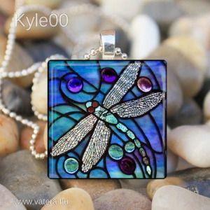 1Ft Ezüst Lila szines Szitakötő négyzet mintás csiszolt Üveg medál női Retro Nyaklánc kép