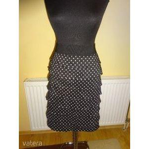Alfani fekete-fehér pöttyös gumis derekú fodros női szoknya- 48-50-es méretben kép