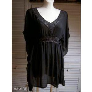 fekete csipkés denevérujjú tunika csinos nőies blúz könnyű lenge strandruha M kép