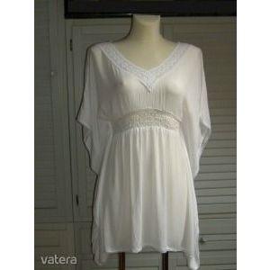 fehér csipkés denevérujjú tunika csinos nőies blúz könnyű lenge strandruha S kép
