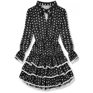 Butikmoda Fekete színű pöttyös ruha fodrokkal kép