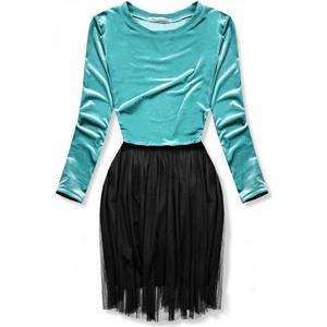 Butikmoda Türkiz színű ruha tüll szoknyával kép