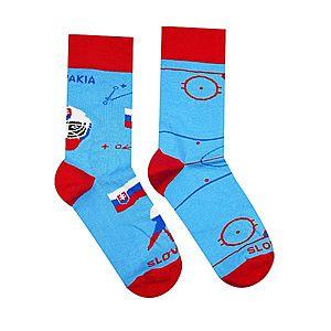 Vidám zokni Hokis - kék/piros - Méretet 35-38 kép