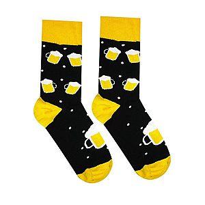 Vidám zokni Söröcske - fekete/sárga - Méretet 35-38 kép