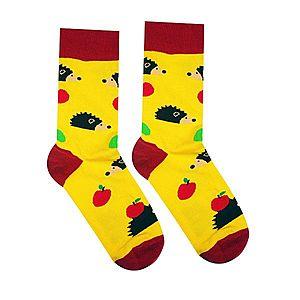 Vidám zokni Süni - sárga/bordó - Méretet 35-38 kép