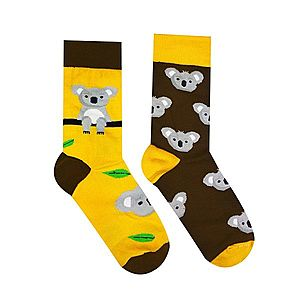 Vidám zokni koalamintával - sárga/barna - Méretet 35-38 kép