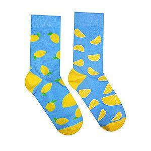 Vidám zokni Citrom - türkiz/sárga - Méretet 35-38 kép