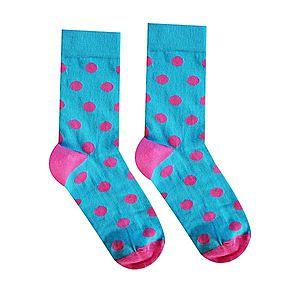 Vidám zokni Rózsaszín párduc - türkiz - Méretet 35-38 kép