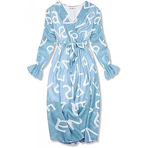 Butikmoda Világoskék színű midi ruha, betűs nyomott mintával kép
