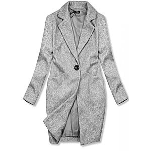 Butikmoda Szürke színű tavaszi kabát egygombos záródással kép