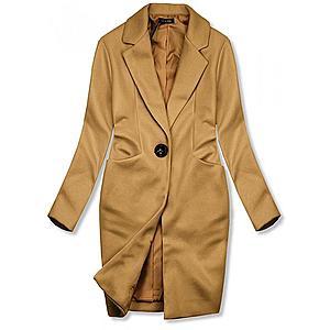 Butikmoda Barna színű tavaszi kabát egygombos záródással kép